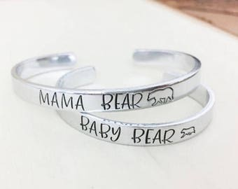 Mama Bear Bracelet - Baby Bear - Mommy and Me Bracelet Set - Mama Baby Bear -Toddler Bracelet -Mother Child Jewelry -Mother Daughter Jewelry