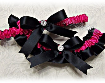 Black and Hot Pink/ Fuchsia  Wedding Garters,  Bridal Keepsake and Toss Garter Set