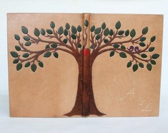 Wedding guest book, Personalized wish book, handmade leather wedding book, custom binding