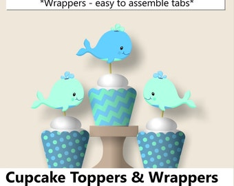 Baby boy WHALE Baby Shower CUPCAKE TOPPERS or Whale Birthday Party Decorations - Favors, Invitation, Banner Blue, Aqua, Teal, Turquoise