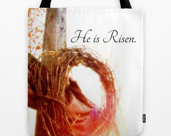 Christian Tote Bag, Christian tote, Jesus Tote, Easter Tote, Cross Tote, He is Risen, Christian Gift, Faith Gift, Pastor Gift, Church Gift