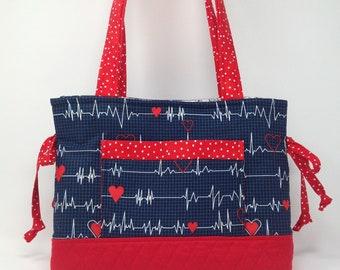 Nurse Bow Bag-Heartbeat Fabric