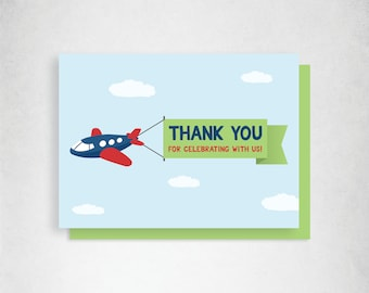 Transportation Birthday Thank You Cards, Printable Thank You Card, Things That Go, Instant Download