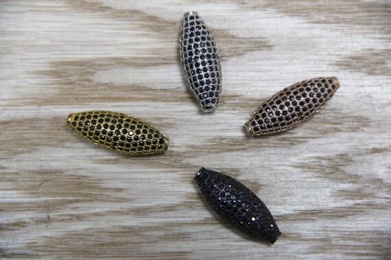 Jet Black CZ Micro Pave 11x28mm Long Oval Beads