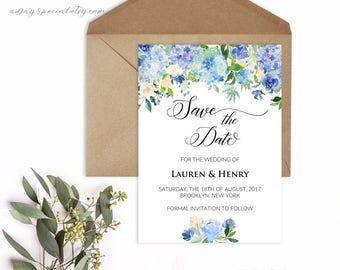 Blue and Cream Floral Wedding Save The Date Template, Printable Summer Rustic Wedding Invites, Vistaprint, DIY PDF Instant download #107