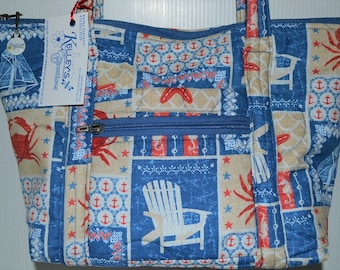 Quilted Fabric Handbag Purse with Beach Chairs, Crabs, Starfish and Anchors