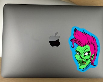 Punkrock Zombie Chick Decal  -- For Cars, Laptops, and More!  -- Use Inside or Outside  -- Sicks To Any Flat Smooth Surface