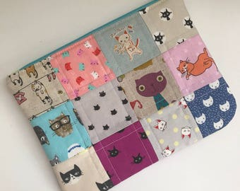 Patchwork Cat Zipper Bag, Cat Zipper Pouch Wallet, Cat Zipper Wallet, Cat Purse,