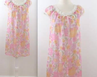 Pastel Floral Chiffon Nightgown - Vintage 1960s Short Nightie in Large