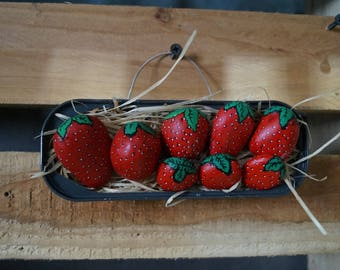 Tray Strawberry painted pebbles