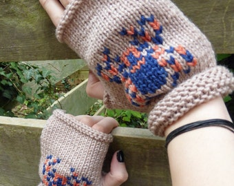 KNITTING PATTERN in PDF, Spooky Spider Fingerless Mitts for Halloween, Halloween Mittens, gloves,  Instant download,  Adult and child sizes