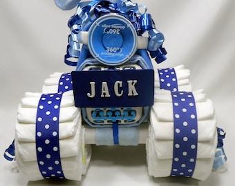 Boy Diaper Cake - 4 wheeler - Baby Shower Gift or Centerpiece - Blue Diaper Cake -