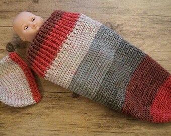 SALE / ready to ship / crochet baby set / cocoon and hat / 3-6 months