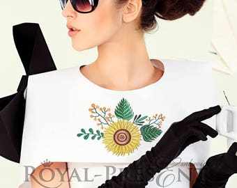 Machine Embroidery Design Yellow sunflower for neckline - 2 sizes