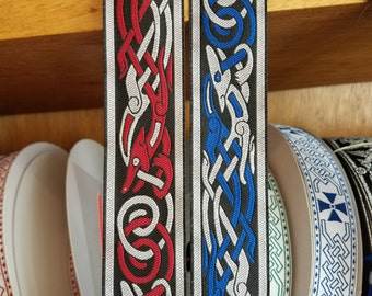 Celtic Beastie Woven Fabric Trim 1 1/4 inch wide Sold by the yard
