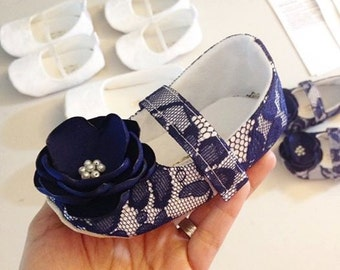 Toddler Girl Shoes Baby Girl Shoes Soft Soled Shoes Navy Lace Wedding Shoes Easter Shoes Flower Girl Shoes Navy Shoes - Juliette