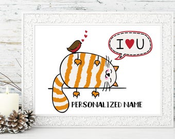 PERSONALIZED: I Love You Print - Valentine's Day, Birthday, Anniversary, Wedding, Engagement, Couples, Bridal Shower Gift idea