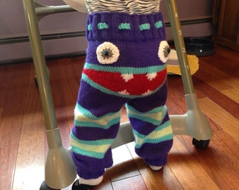 Adorable Knit Monster Pants. Choose your perfect color combination and size specifications.