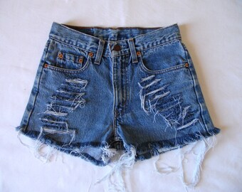 High waisted Levis shorts, blue Levis 611, denim jean shorts, vintage retro cut off frayed distressed denim,x small, waist 27