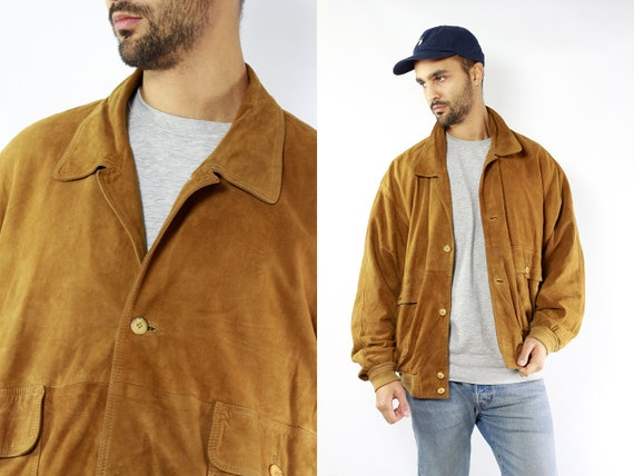 Vintage Suede Jacket Vintage Suede Bomber Suede Bomber Jacket Brown Suede Jacket Brown Bomber Jacket Soft Suede Jacket Large Suede Jacket