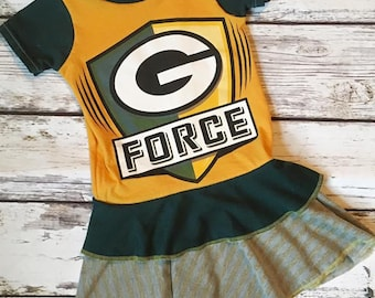 Packers Upcycle Dress, Made to Order, OOAK