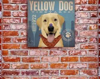 Yellow Dog Lab Wine labrador Company graphic art on gallery wrapped canvas by stephen fowler