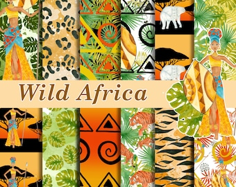 Wild Africa digital paper pack, Africa girl seamless patterns, Colorful african seamless papers, Digital background, watercolor papers