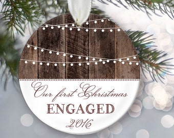 "Our First Christmas Engaged Ornament Personalized Christmas Ornament Hanging lights Rustic ""wood"" Engagement Gift Bridal Shower Gift OR368"