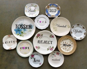 Dirty Dozen hand painted vintage china plates assemblage sweary humor wall of shame decor display SALE