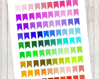 Solid Bright Page Flags   Planner Printables   MAMBI HP, ECLP, and More!
