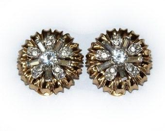 Clip Earrings Rhinestones Gold Vintage 1950s Wedding Earrings