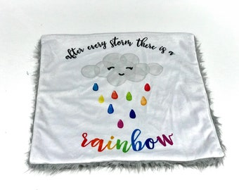 After Every Storm There is a Rainbow Baby Blanket, Rainbow Baby Minky Baby Blanket, Ready to Ship Baby Blanket, Gender Neutral Baby Gift