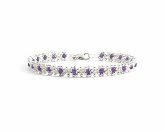 Amethyst Gemstone Anklet - Sterling Silver Jewelry - Bead Ankle Bracelet - Foot Jewelry - Beach Anklet - Made To Order