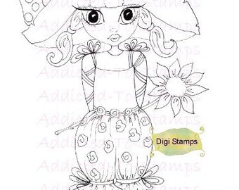 INSTANT DOWNLOAD Digi Stamps tuin Nellie Lil Ragamuffin Dollies door Sherri Baldy