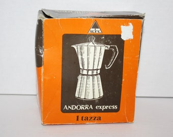 Vintage Espresso Coffee Maker 1 Cup New in Box Andorra Express Italy Stove Top