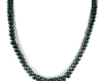 "1 Strand Emerald Corundum Rondelle Necklace Beads 6-10mm 18"" Long Strand"