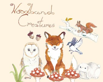 Hand Painted Water Color Clip Art - Woodland Creatures - Animal ClipArt, Scrapbooking,