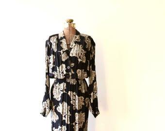 vintage floral shirtwaist dress - 80s does 40s blouson dress - button front secretary dress - medium