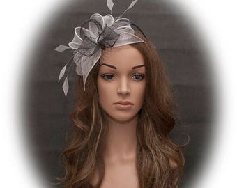 Light grey and dark grey stunning fascinator for your special occasions