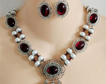 Deep Red & Silver, Renaissance Necklace, Earrings, Medieval Necklace, Medieval Jewelry, Renaissance Jewelry, Game of Thrones, Ready to Ship