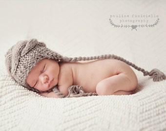 Crochet Baby Hat, Baby Boy Hat, Ear Flap Hat, Baby Newborn Hat, Baby Boy, Beige, Newborn Hat, Newborn Baby Hat, Crochet Hat