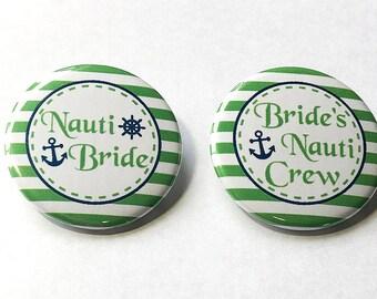 "Bride, Nautical, Green, Blue, 1.5"", 2.25"", Anchor, Bachelorette, Bachelorette Party, Bachelorette, Nauti Bridal Party, Cruise Ship Bride"
