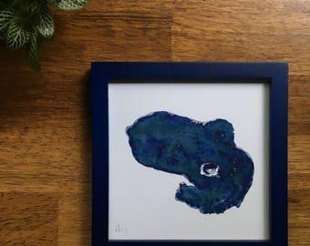 "5"" x 5"" Bobtail Squid Watercolor Print Blue"