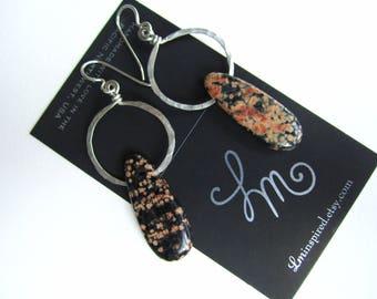 Sorbet Orange Pink Black Jasper Teardrop Hammered Sterling Silver Earrings by LM-inspired