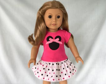 Pink Minnie Mouse T-Shirt and Polka Dot Skirt for American Girl/18 Inch Doll