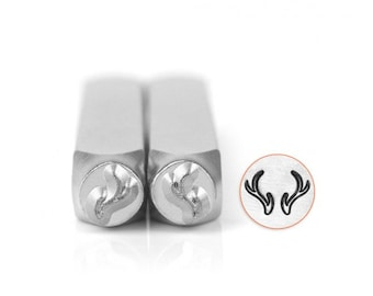 Impress Art 6mm Deer or Elk Antlers Metal Design 2 Stamp Set - Metal Stamp - Metal Stamping and Jewelry Tool SGSC156-AV-6MM2PC