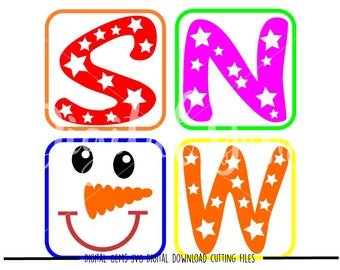 Snowman face squares svg / dxf / eps / png files. Digital download. Compatible with Cricut and Silhouette machines. Small commercial use ok.