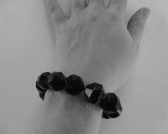 Vintage Black Geometric Polygonal Beaded Bracelet
