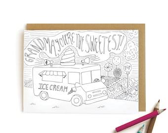 Ice Cream Truck Grandma - letterpress card