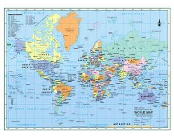 World map poster etsy world wall map political poster 22x17 or 32x24 large gumiabroncs Gallery